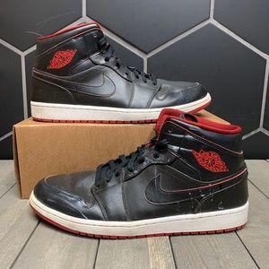 Used Air Jordan 1 Mid Black Red Shoe Size 13